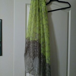 Lime green leopard scarf